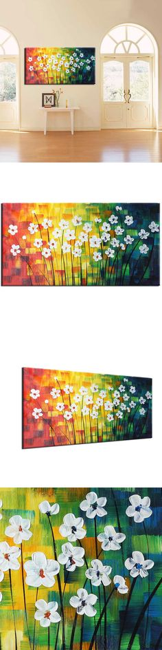 (Frameless) 100% Hand Paint Oil Painting On Canvas Modern Abstract Spring Flowers Wall Art Home Decorations $66.38