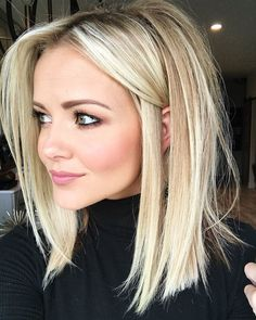 Blonde lob haircut
