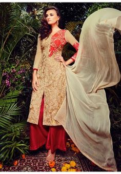 Cream Georgette Kameez With Palazzo Pant
