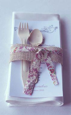 burlap ribbon, fabric strips + wooden utensils
