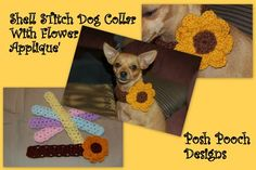 Shell Stitch Dog Collar with a Big Flower or Butterfly   AllFreeCrochet.com