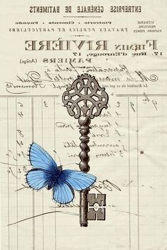 Small blue butterfly with filligree key (superimposed on an old waybill) Decoupage Vintage, Decoupage Paper, Vintage Crafts, Illustrations Vintage, Etiquette Vintage, Foto Transfer, Heat Transfer, Images Vintage, Shabby