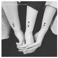 Matching Heart Temporary Tattoo (Set of Passendes Herz Tattoo Set) Cute Elephant Tattoo, Elephant Tattoo Design, Tiny Tattoos For Girls, Tattoos For Daughters, Three Sister Tattoos, 3 Best Friend Tattoos, Mother Daughter Tattoos, Small Heart Tattoos, Sister Heart Tattoos