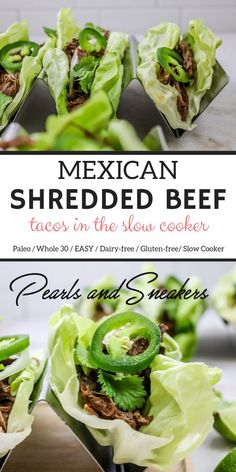 Mexican Shredded Beef Tacos – chop up some onions, cover the chuck roast in barbacoa-type spices and throw it all in the slow cooker! Healthy Beef Recipes, Healthy Tacos, Pork Recipes, Mexican Food Recipes, Real Food Recipes, Yummy Recipes, Keto Recipes, Shredded Beef Tacos, Mexican Shredded Beef