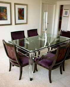 dining room: acrylic table plum chairs