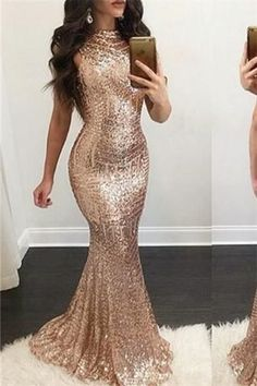 rose gold mermaid evening dress sequins prom dress