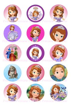 Sofia The First Bottle Cap Images  Hair Bow Center por HerEtsyShop, $1.25