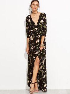 Black Floral Print Wrap Maxi Dress