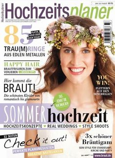 HOCHZEITSPLANER 3/2015  Schlagzeilen der Ausgabe: PLATIN, GOLD ODER DOCH TITAN? 85 TRAU(M)RINGE AUS EDLEN METALLEN  HAPPY HAIR BRAUTFRISUREN ZUM VERLIEBEN +INSIDER-TIPPS  Hier kommt die BRAUT! Die schönsten Kleider von romantisch bis glamourös  YOU WIN! FLITTERN AUF DEN SEYCHELLEN  DAS KÖNNT IHR NACHMACHEN: SOMMERhochzeit HOCHZEITSKONZEPTE - REAL WEDDINGS - STYLE SHOOTS