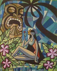 The Tiki Art of Anthony Carpenter-Art show poster - Tiki Central Hawaiian Decor, Hawaiian Tiki, Illustration Inspiration, Illustration Art, Tiki Hut, Tiki Tiki, Illustrator, Tiki Totem, Tiki Decor