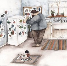 The Love Between Dads And Their Little Girls In Heartwarming Illustrations By Ukrainian Artist - U Wanna Know What? Watercolor Drawing, Watercolor Illustration, Father And Daughter Love, Family Illustration, Illustrators On Instagram, Arte Popular, Art Drawings, Little Girls, Artwork
