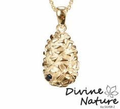 """Cone""  14 k gold plated sterling silver pendant (massive) set with a black cubic zirkonia"
