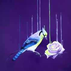 Heavy use of purples Yellows and blues feature Bird gazing at the rise in its right out of curiosity heavily inspired by nature and surrealism we see the popular use of drips featured in a lot of the artists paintings Animal Sketches, Art Sketches, Fractal Art, Artist Painting, Bird Art, Doodle Art, New Art, Flower Art, Graphic Art