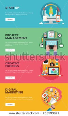 Set of flat vector banners with icons for start up, creative process, digital marketing, project management.