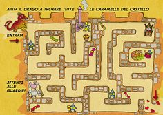 "#Labirinto #gioco dal libro ""La Principessa Azzurra e il Drago Golosone"" in formato stampabile A4 ** #Maze #printable #game from ""Princess Azzurra and the Gluttonous Dragon"""