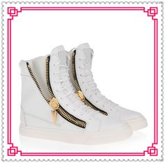 Sneaker Charm 2013 Walking Womens Sneakers GZ White Genuine Leather Zip Lace-Up Hip-Hop Shoes