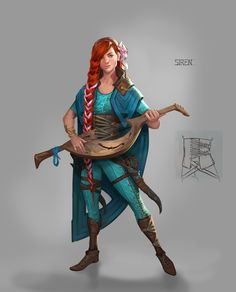 Female Bard two handed stringed instrument red hair female character inspirati. Female Bard two handed stringed instrument red hair female character inspirati. Dungeons And Dragons Characters, D D Characters, Fantasy Characters, Fantasy Women, Fantasy Rpg, Medieval Fantasy, Character Creation, Character Concept, Character Art