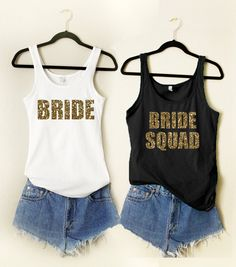 7 Bride Squad 1 Bride GOLD GLITTER Tanks Wedding Bridesmaid Tank Bridal Shower Bachelorette Party Workout Tank Top