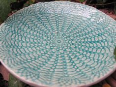 set of four ceramic pottery bowls aqua and lace by muddyme on Etsy, $50.00
