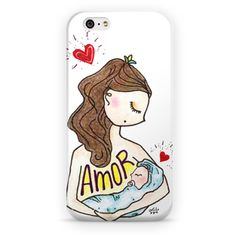 "Case para iphone ""Amor de mãe"". Por Carol Dib na Colab55 (studio @sementinhascorderosa). #capadecelular #cases #iphone #amor #mãe #diadasmães #amordemãe"