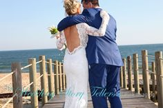 Brides amazing wedding dress in the Algarve