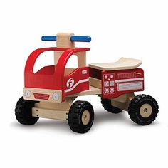 Fire Engine Wooden Ride On Toy by Wonderworld--Made from environmentally friendly rubberwood and non-toxic water-based paints