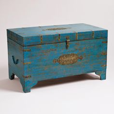 Toy trunk?  Open lid and secure to wall to avoid pinched fingers :)   Blue Medallion Trunk | World Market
