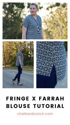 Combine the Chalk and Notch Fringe and Farrah online PDF sewing patterns to create your own simple woven top. Instructions, photos, and more details for making your own version are on the blog. Check it out now! #chalkandnotchpatterns #indiesewingpatterns #apparelsewing #diytutorial #sewingtutorial #sewyourclothes #handmadeclothes #sewingpattern