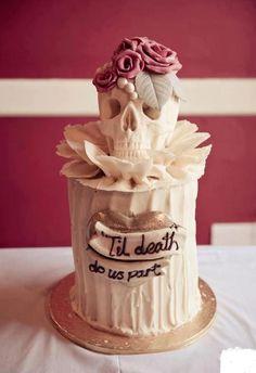 Cute idea for the brides wedding cake. #skull cake