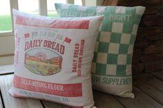 Vintage Flour Sack Pillow  Daily by catnapcottage