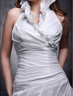 Cheap Free Shipping Plus Size A-line Halter Chapel Train Taffeta Ruffles Wedding Dress 2013 at TheDressUnion.com