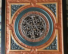 Ceiling Tile, hand painted metalic copper, bronze rose gold and teal Steampunk Victorian Art - x finished size, faux tin, framed Victorian Design, Victorian Art, Wreath Boxes, Matching Paint Colors, Copper Frame, Paint Stripes, Old Wall, Ceiling Tiles, Custom Wood