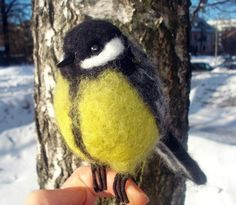 handmade wools on esty | Handmade felted wool bird titmouse by BinneBear on Etsy