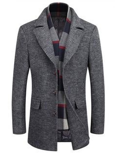 Lapel Buttoned Marled Coat with Scarf