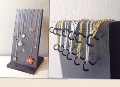 As seen in Bauble Bar displays! Necklace display - specially designed for long necklaces, up to 28 inches. Great for retail store, craft fairs, or home display. A Jewelry Designer will love this! Dimensions: Base is 7.25 wide by 8 deep. Big enough to keep your display sturdy so it wont tip over with even the heaviest of necklaces. Display board is 7.25 wide by 14 tall. Features 13 hidden hooks to hang your necklaces on. Available in over 30 color choices! Stand is shown in black for listi...