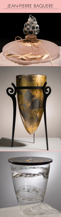 """Jean Pierre Baquere travaille le verre à la flamme du chalumeau depuis 1970, comme artisan créateur. Il a notamment réalisé des services à verre Louis XIII pour la Maison Dior, ou encore des flacons de parfum fait main, pour le parfumeur CARON. 1/ Flacon """"CASCADE """" pour le parfumeur CARON 2/ Nos ancêtres les Gaulois 3/ """"SILENCE"""" (c) Bruno Farat"""