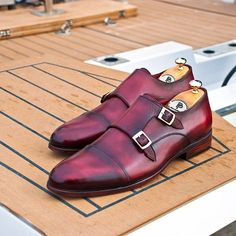 PAUL PARKMAN MEN'S CAPTOE DOUBLE MONKSTRAPS BORDEAUX HAND-PAINTED  Website : www.paulparkman.com  #paulparkman #paulparkmanshoes #handmade #bespoke #luxury #shoemaker #handcrafted #shoesformen #mensshoes