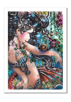 Colorful Mermaid and Snail 7x9 Art Print by RubysBrush on Etsy, $9.00