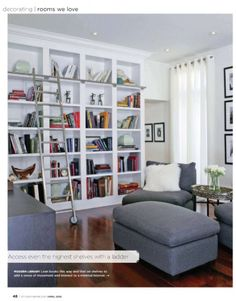 #style at home, library with rolling ladder, love it
