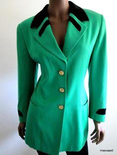 Stunning ESCADA Kelly Green/Black Velvet Blazer Suit Jacket + Lined  40 L 10 12