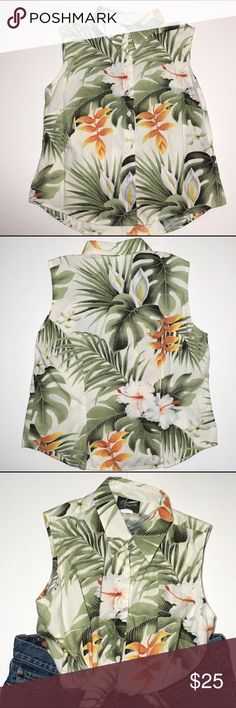 """Shannon Marie Hawaii Sleeveless small top hibiscus Shannon Marie Hawaiian Small Sleeveless collared top 100% cotton neutral and green colors throughout lilies, hibiscus and palms  Flat measurements  Armpit to armpit 18"""", length 21"""" shannon marie Tops Button Down Shirts"""