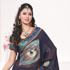 Navy Blue and Dark Green Faux Georgette Saree with Blouse