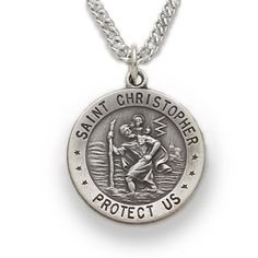 Saint christopher pendant solid sterling silver 18mm round st necklace with the medal of stristopher google search aloadofball Image collections