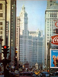 Looking north on Michigan Ave from Randolph, 1962, Chicago