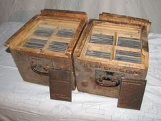 """2 wooden dovetail construction boxes of copperplate book engravings of Life of Geo Cabot Lodge. 126 plates, each 3.25""""Wx5.25""""T. Houghton Mifflin mailing label on side of each box. Not sure if complete set. Broken lid on one box.Hackensack, NJ Auction Ending 5/6/2013."""