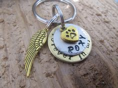 pet memorial keychain, Loss of pet, Death of pet, Memorial for Dog, Memorial , Sympathy, Gift for loss of pet, Hand stamped key chain by InTheQuiet on Etsy