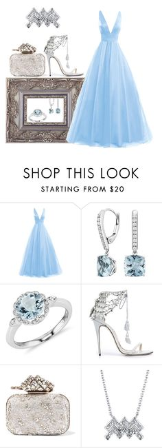 """Water baby. No, really."" by aysh-m ❤ liked on Polyvore featuring Blue Nile, Marchesa and Jimmy Choo"
