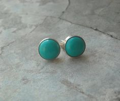 turquoise stud turquoise earrings sterling silver by Studio1980, $45.00