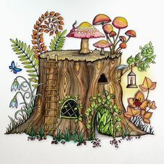 From Johanna Basford's Enchanted Forest. Colored with Winsor & Newton Watercolor markers