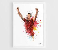 Radja Nainggolan AS Roma - A3 Wall Art Print Poster of the Original Watercolor Painting Football Poster Soccer Poster by NazarArt